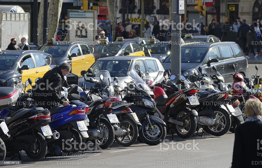 Motorcycles parked in Barcelona. Spain royalty-free stock photo