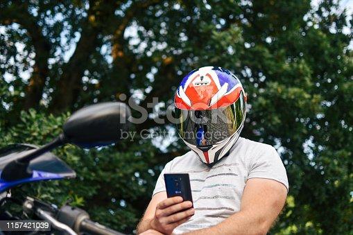 Motorcycle, Sitting, Mobile Phone, Men, Motorcycle Racing