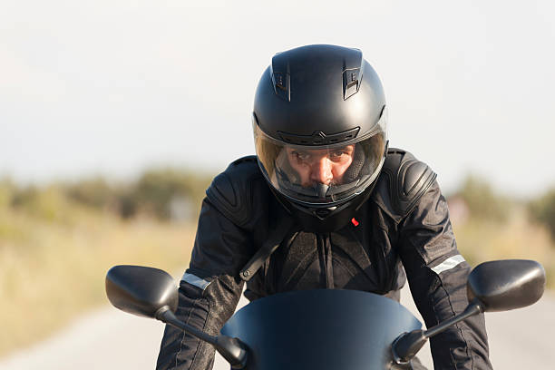 motorcyclist and racer - crash helmet stock photos and pictures