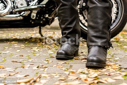 istock Motorcyclist boots 618050338