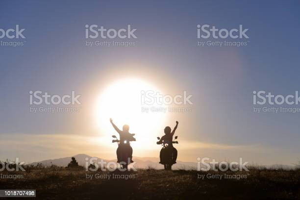 Photo of motorcyclist greeting, successful travel and free positive power