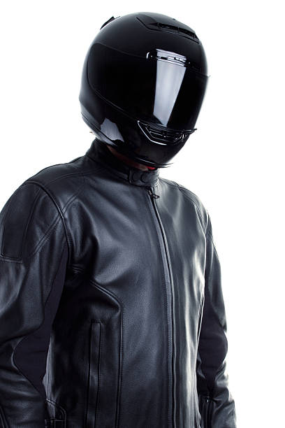 motorcyclist in black - helmet visor stock photos and pictures