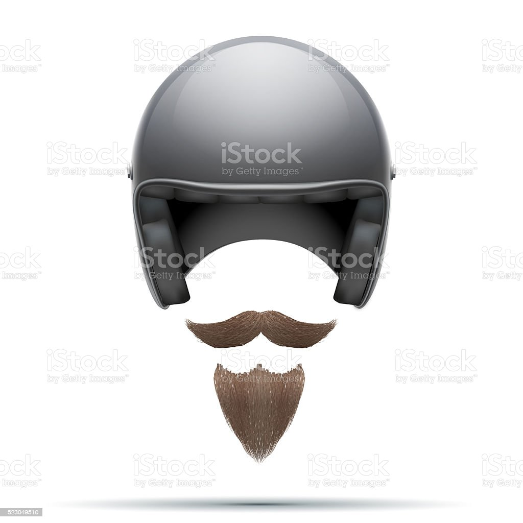 Motorcyclist symbol with mustache and beard stock photo