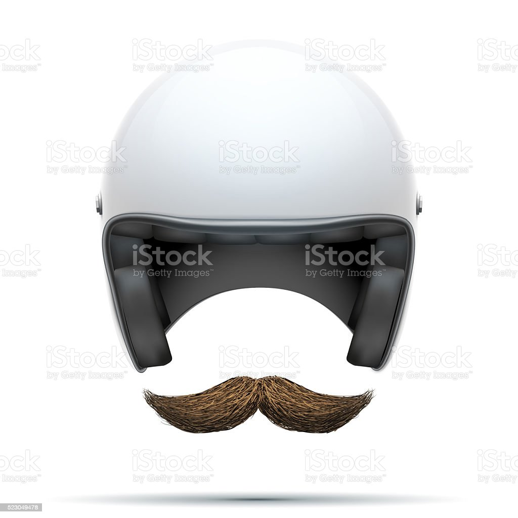Motorcyclist symbol with mustache royalty-free stock photo