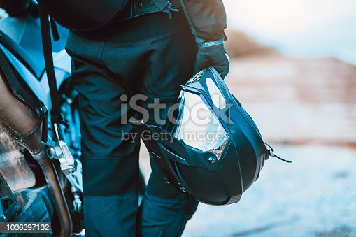 istock Motorcyclist With Specialized Equipment 1036397132
