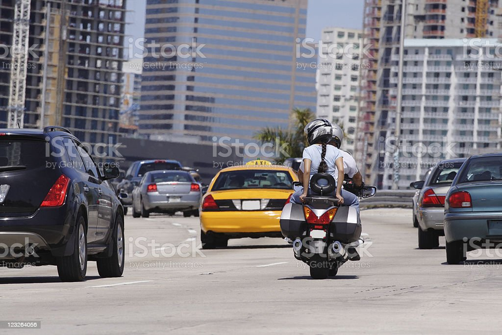 Motorcyclists On The Highway stock photo