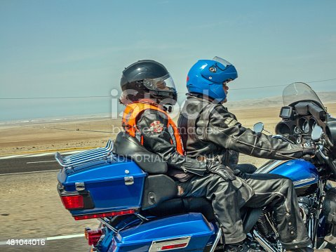 Huaral, Peru - January 22, 2015: Harley Davidson Motorcyclists on the pan-american highway in Peru