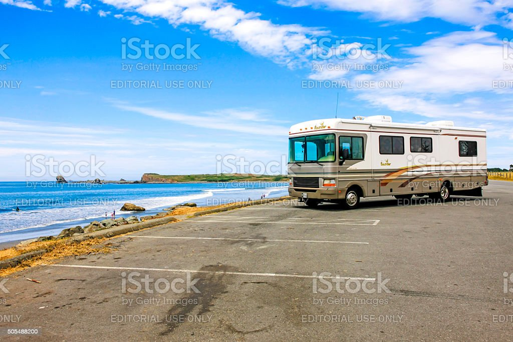Motorhome at a rest stop in NW California stock photo