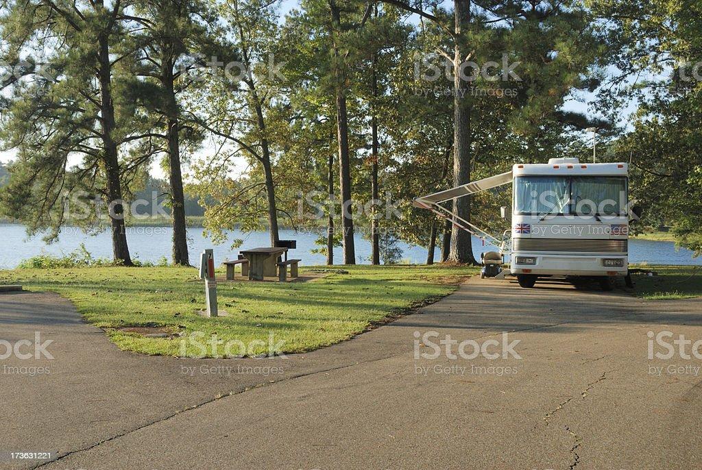 Motorhome by lake royalty-free stock photo