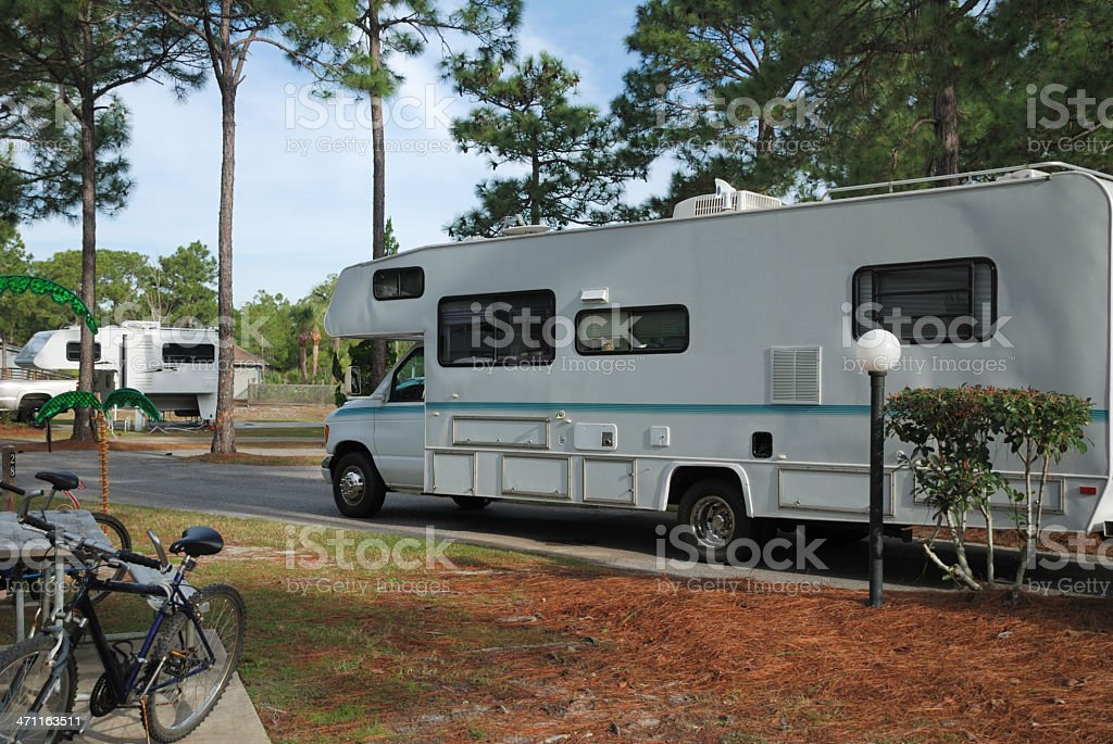 Motorhome Entering Campground Stock Photo - Download Image