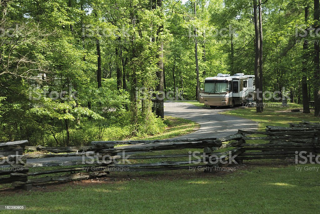 Motorhome in campground stock photo