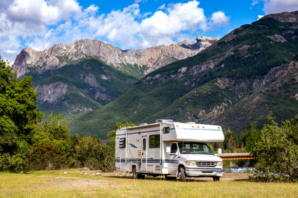 Motorhome in Chilean Argentine mountain Andes. Family trip travel vacation on Motorhome RV in Andes Motorhome in Chilean Argentine mountain Andes. Family trip travel vacation on Motorhome RV in Andes caravan photos stock pictures, royalty-free photos & images