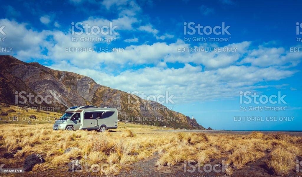 Motorhome in New Zealand stock photo