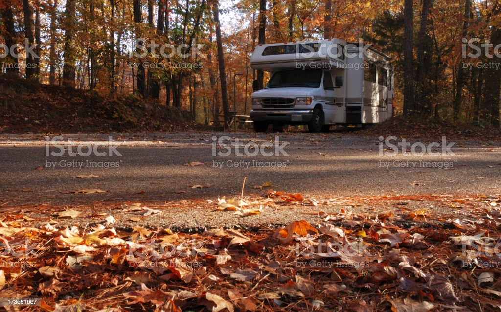 Motorhome in scenic campground royalty-free stock photo