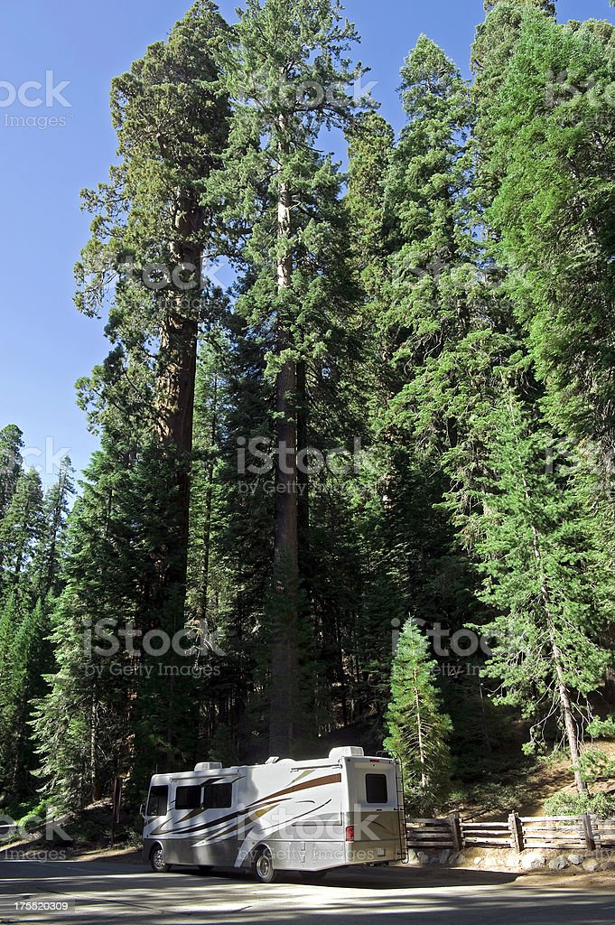 Motorhome in Sequoia national park. royalty-free stock photo