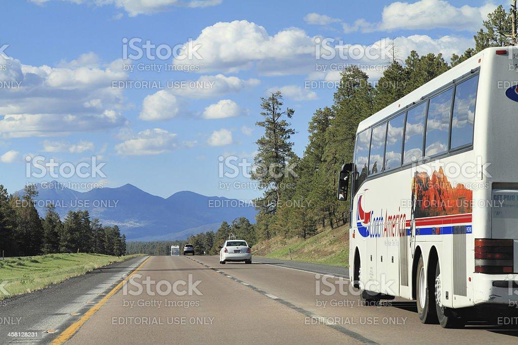 RV motorhome on highway royalty-free stock photo