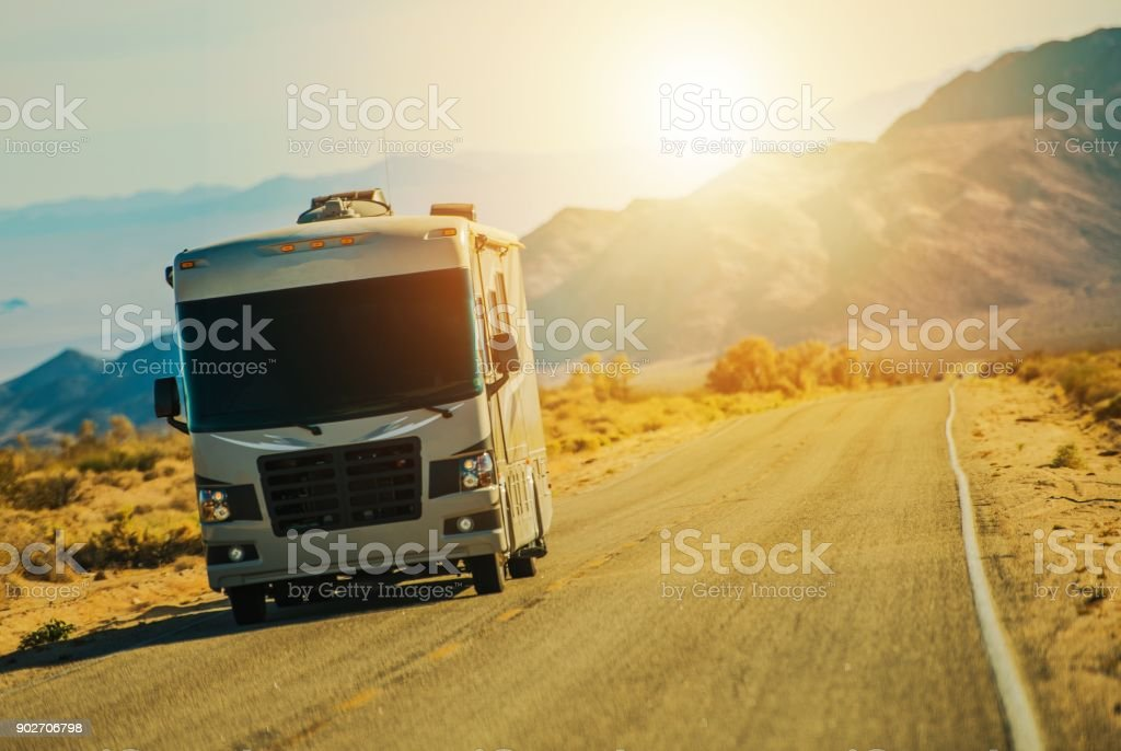Motorhome on the Road stock photo