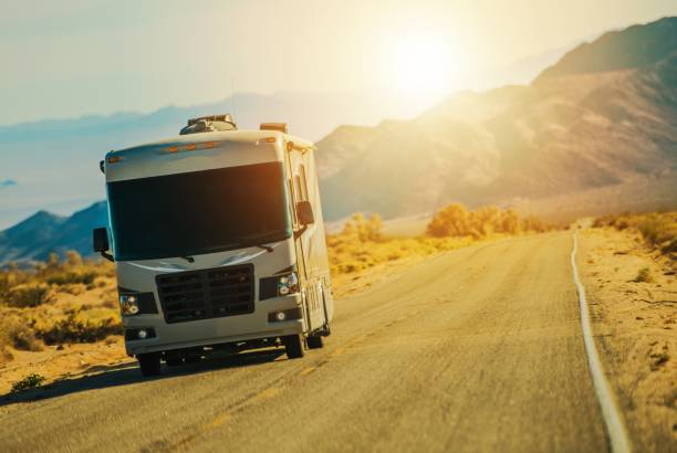motorhome on the road - motorhome stock photos and pictures
