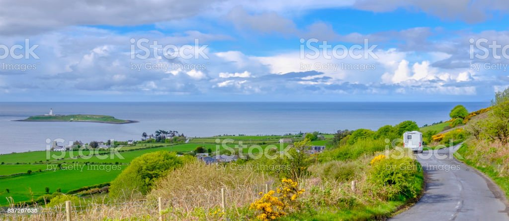 Motorhome on the roadside in the Island of Arran, Scotland stock photo