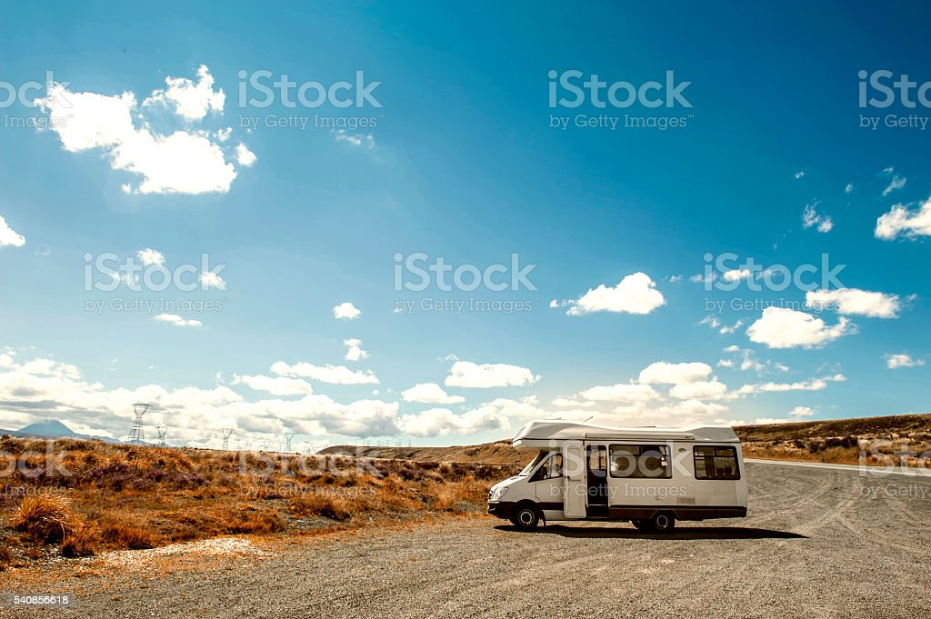 Motorhome or campervan in North Island of New Zealand stock photo