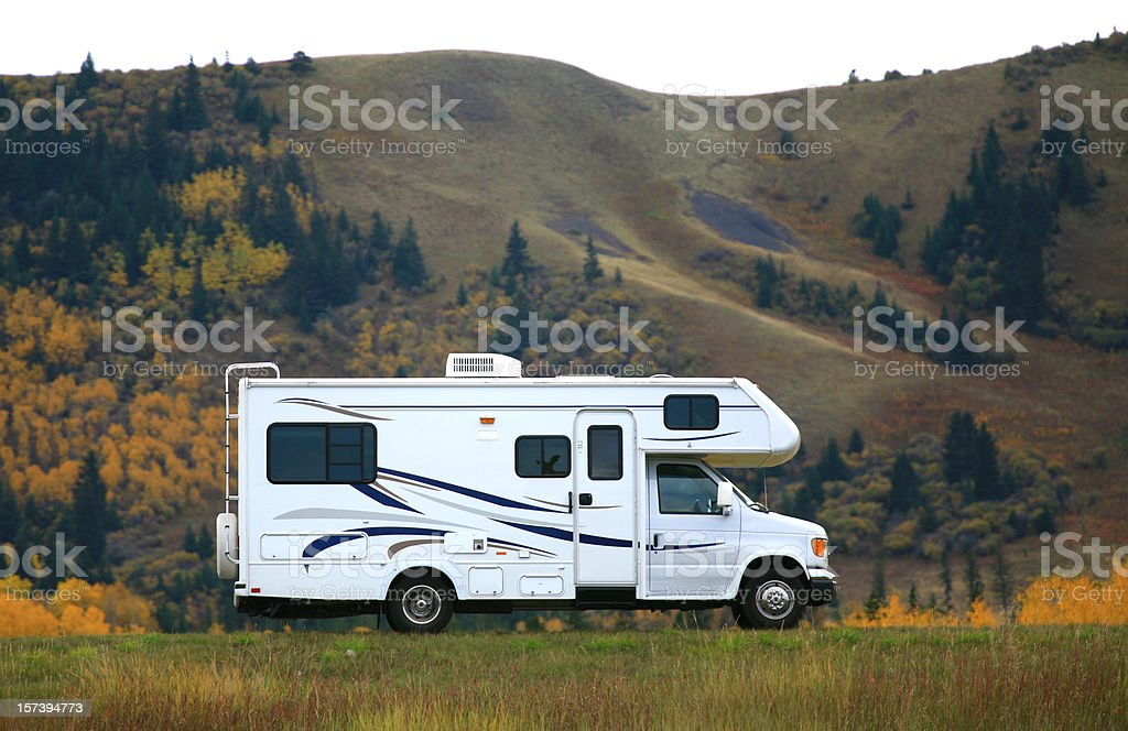Motorhome or RV on Highway in the Mountains royalty-free stock photo