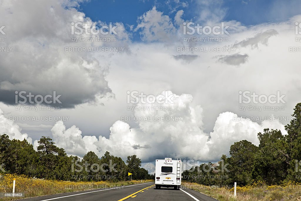 Motorhome RV Driving in Arizona towards Grand Canyon royalty-free stock photo
