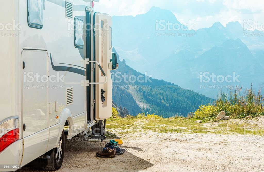 Motorhome RV Mountains Trip stock photo