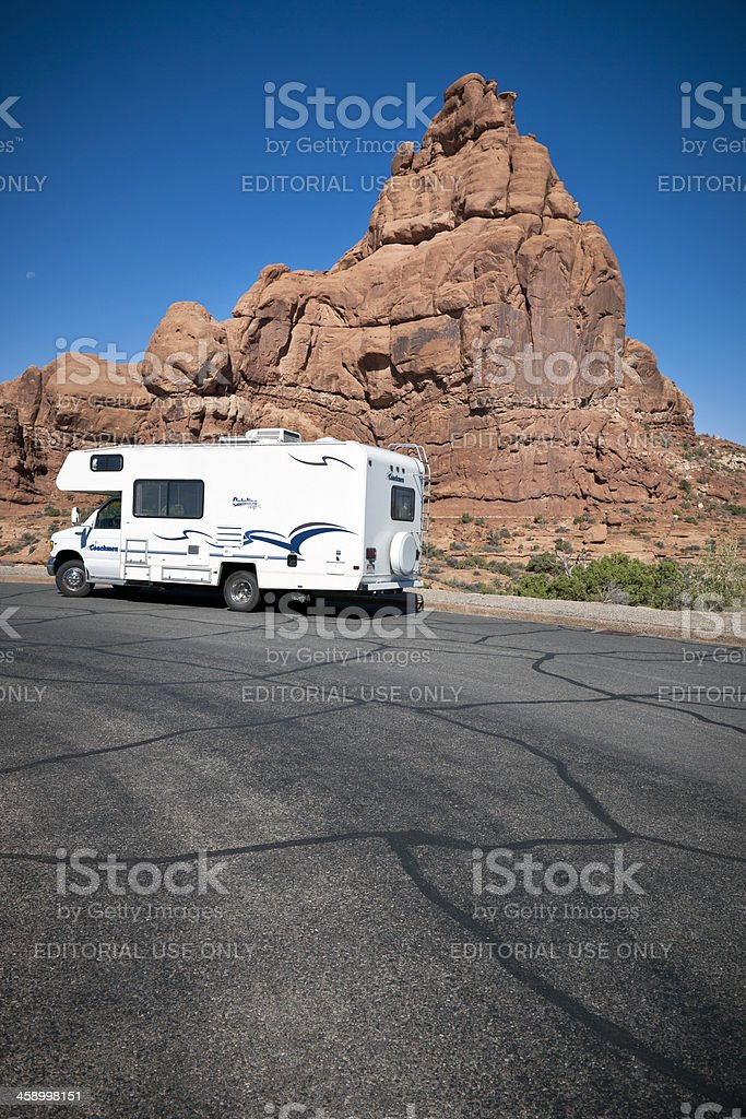 Motorhome RV Parked in Arches National park Utah USA royalty-free stock photo