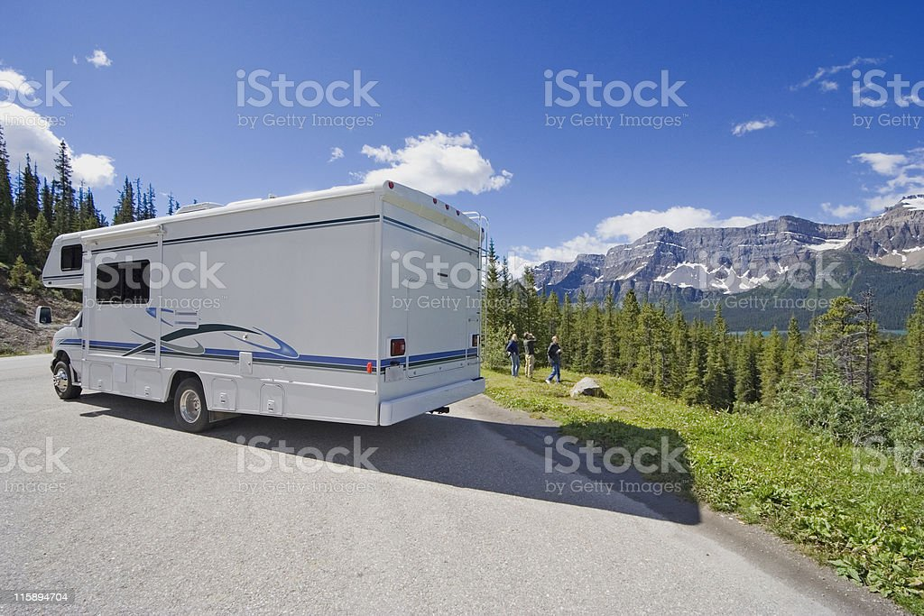 motorhome side view and wide angle stock photo