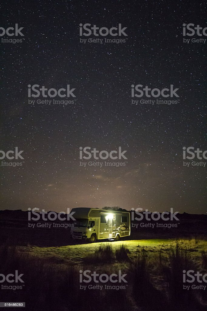 Motorhome under the stars royalty-free stock photo