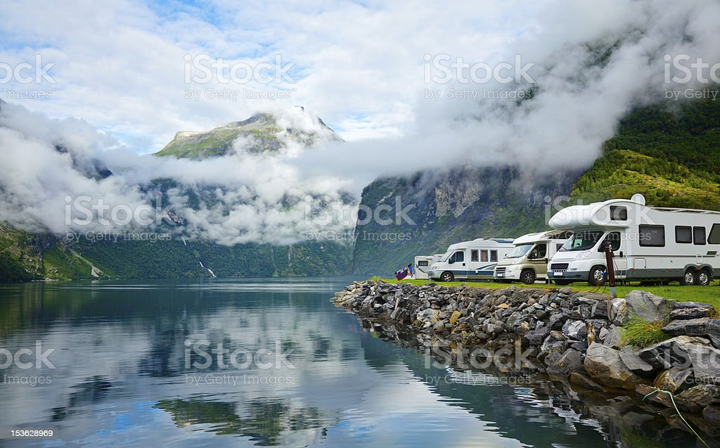Motorhomes at Norwegian campsite stock photo