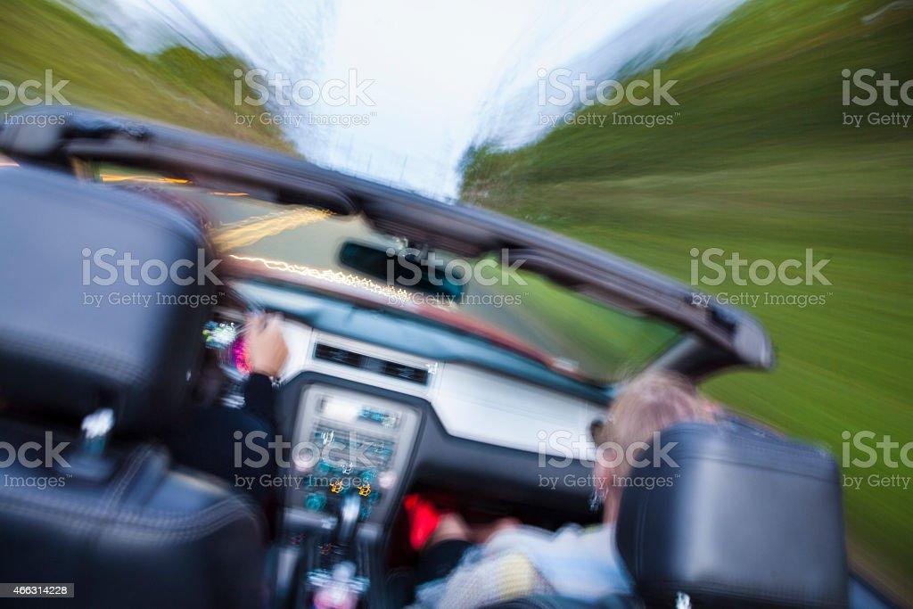 Motoring Driving Trip Vacation in Convertible Car stock photo