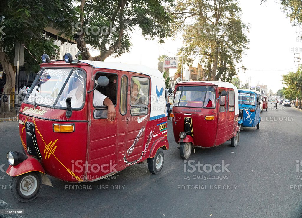 Motorised three wheeler rickshaws in the Peruvian city of Ica royalty-free stock photo