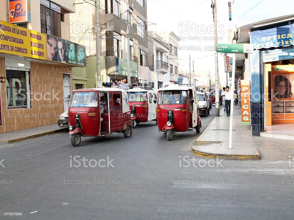 Motorised three wheeler rickshaws in the Peruvian city of Ica royalty-free stock photo