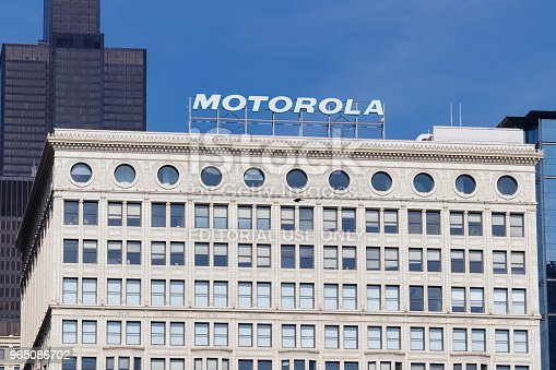 Chicago - Circa May 2018: Motorola Solutions logo atop the Railway Exchange Building. Motorola provides communications solutions for law enforcement and utility workers II