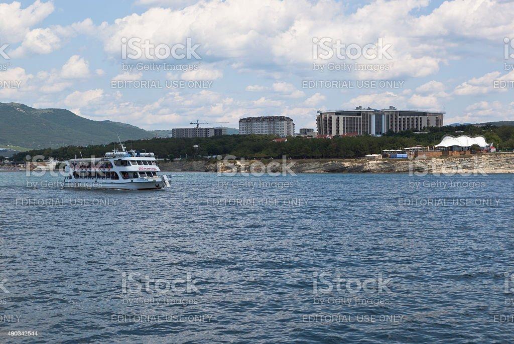 Motorship 'Salamander' sails on the Gelendzhik Bay stock photo