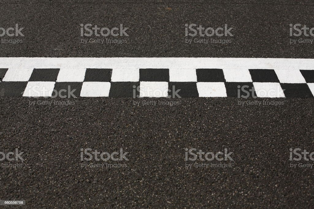 Finish line painted on an asphalt racing track