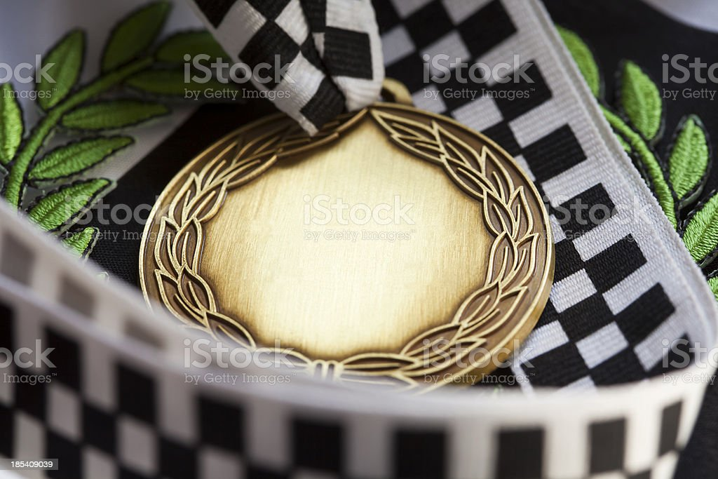 Motorsport Medal with laurel wreath and blank for your own text. A...