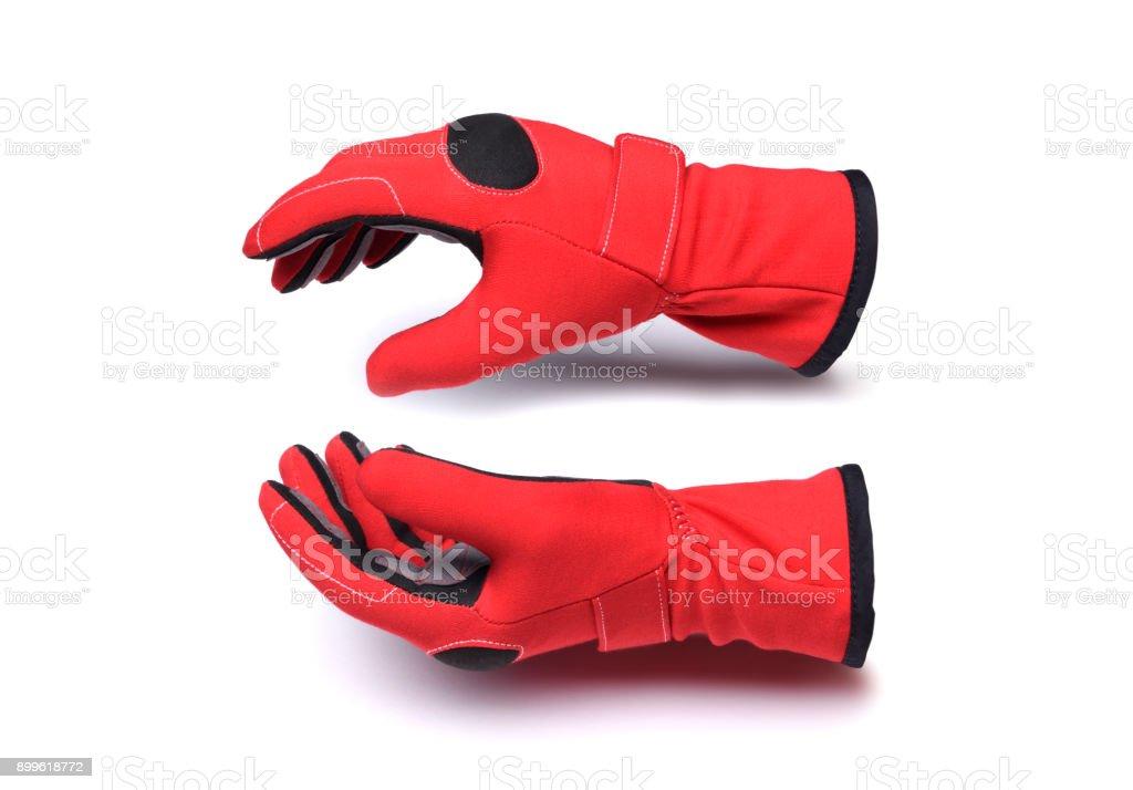 Motorsport racing gloves stock photo