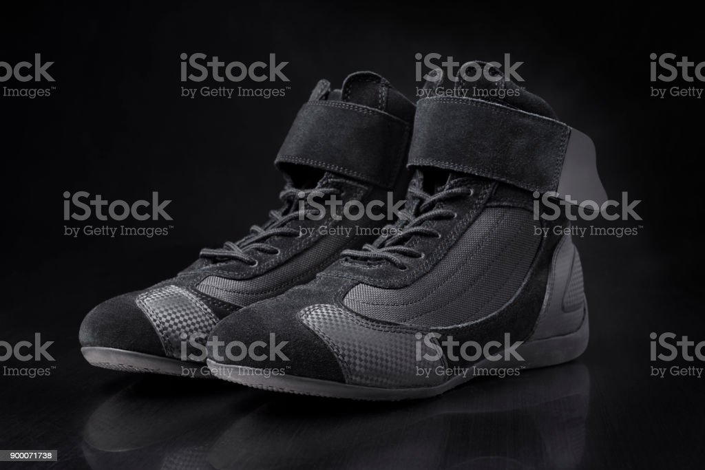 Motorsport racing shoes stock photo