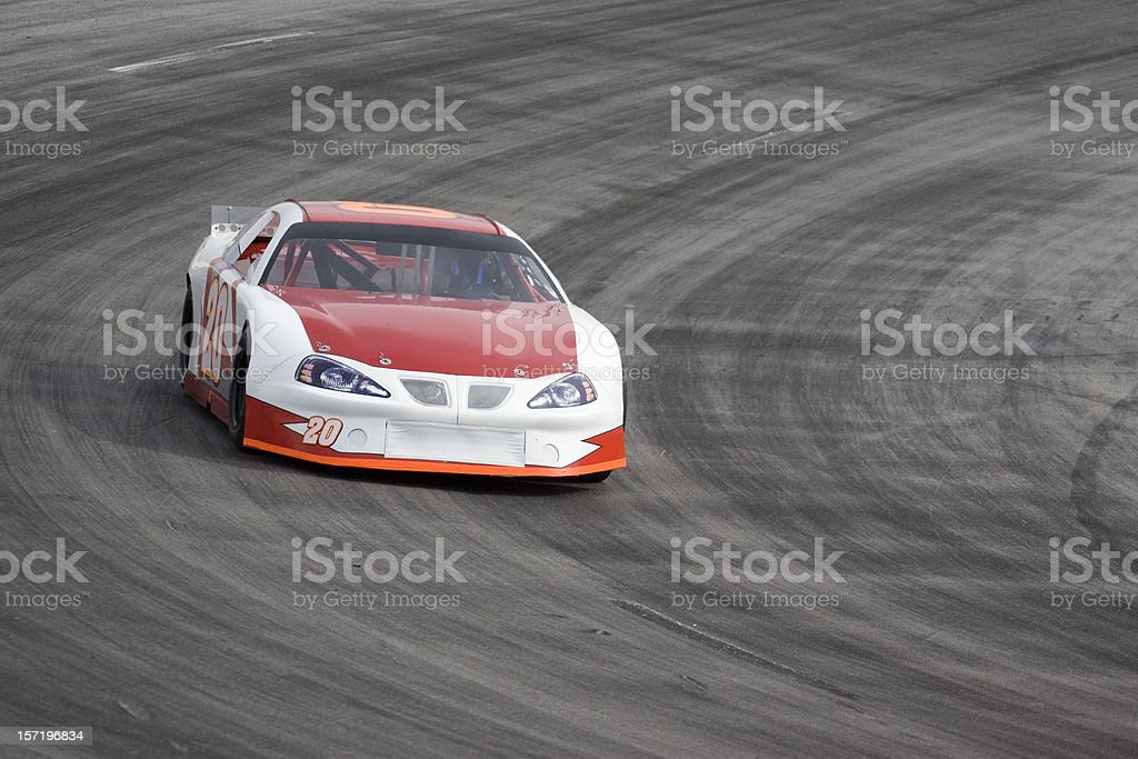 Motorsports-Red and White Race Car stock photo