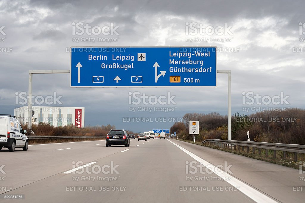 Autobahn A9 in Germany - Leipzig stock photo