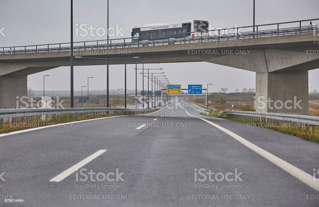 Autobahn am BER Flughafen stock photo