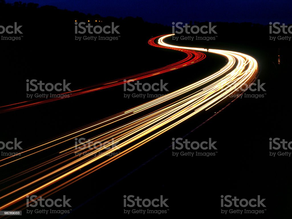 M25 Motorway at night near Sevenoaks in Kent, England royalty-free stock photo
