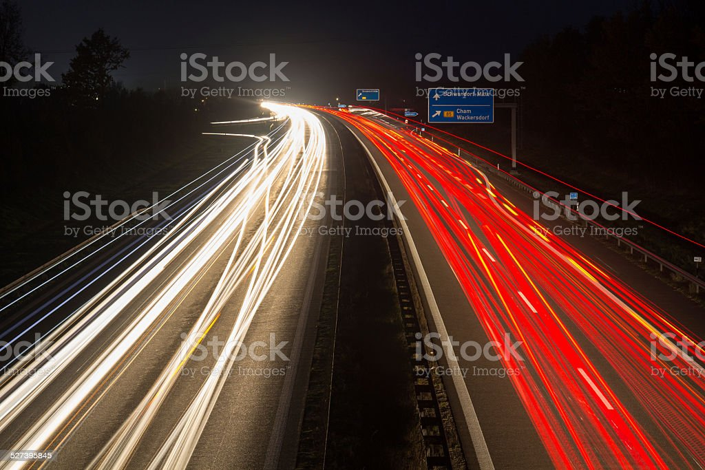 motorway at night stock photo