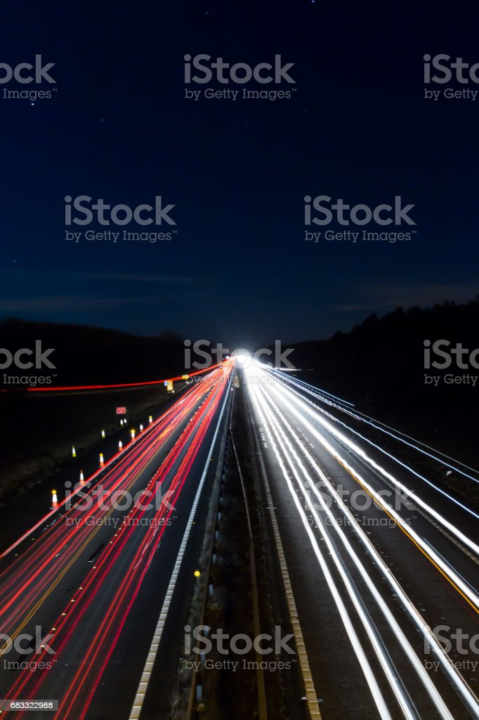UK Motorway at night royalty-free stock photo