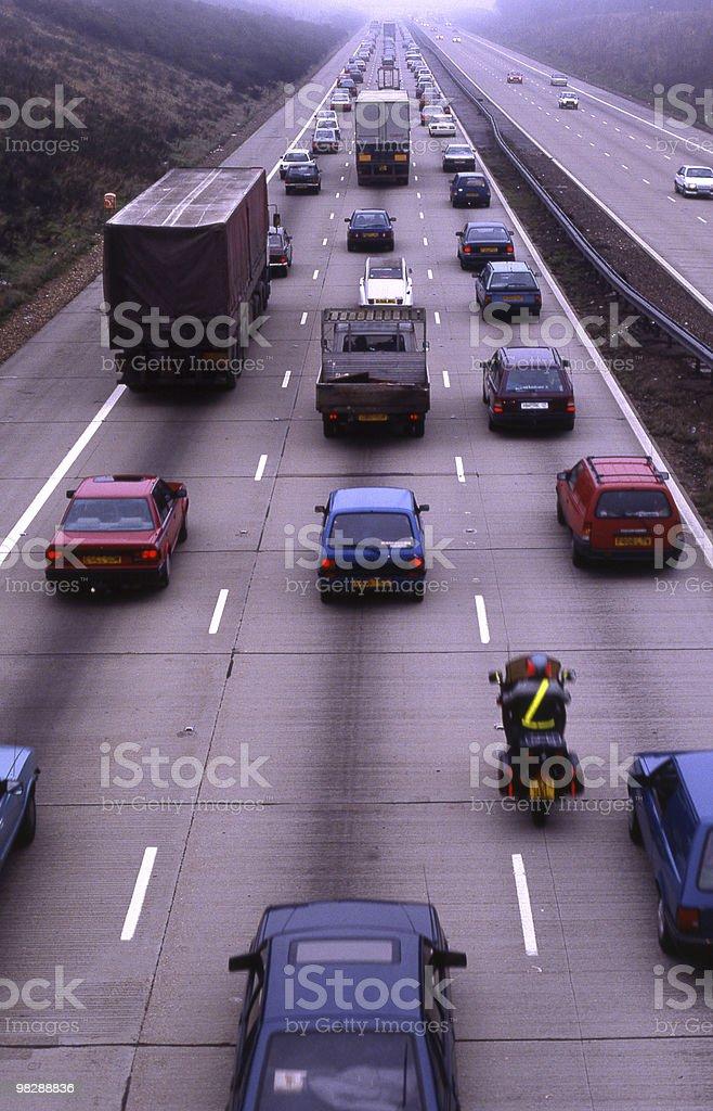 M25 Motorway at Reigate in Surrey. England. Traffic jam royalty-free stock photo