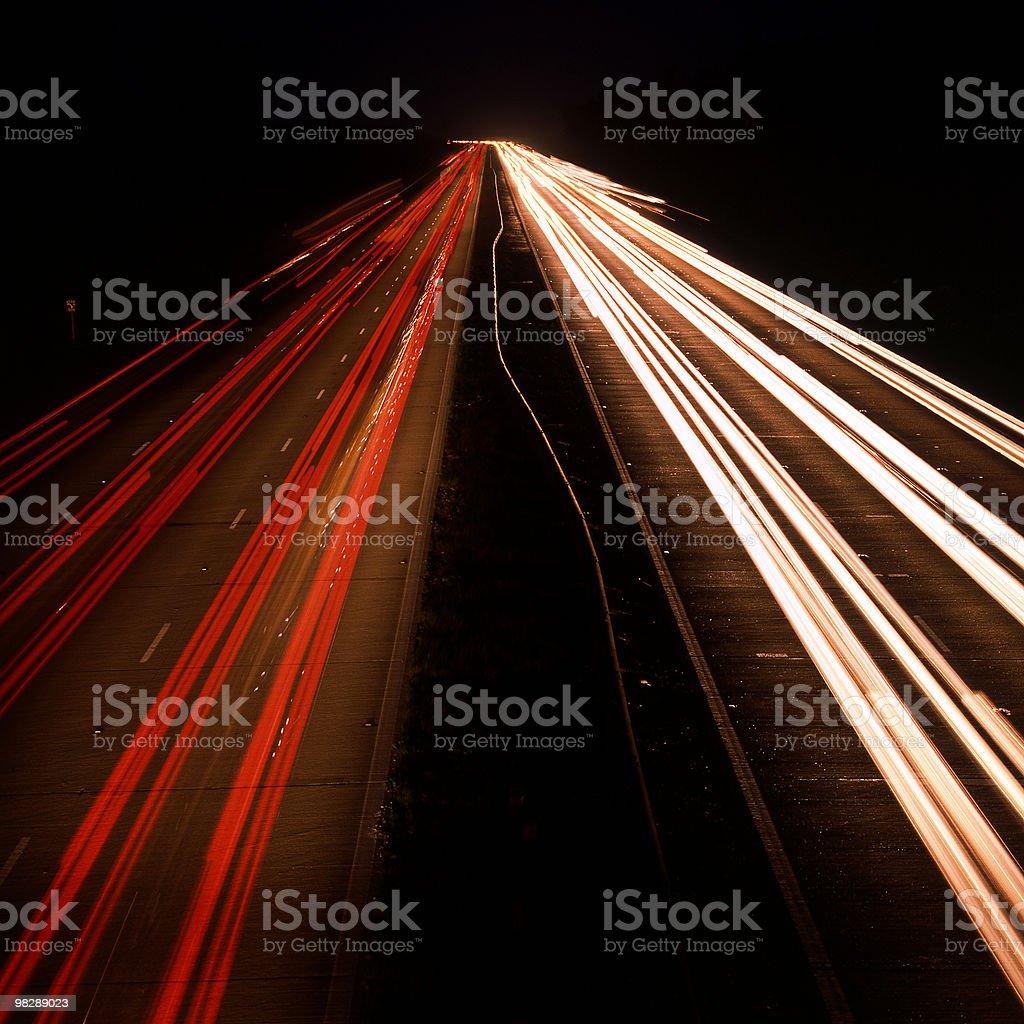 M25 Motorway at Reigate. Surrey. England. Night royalty-free stock photo