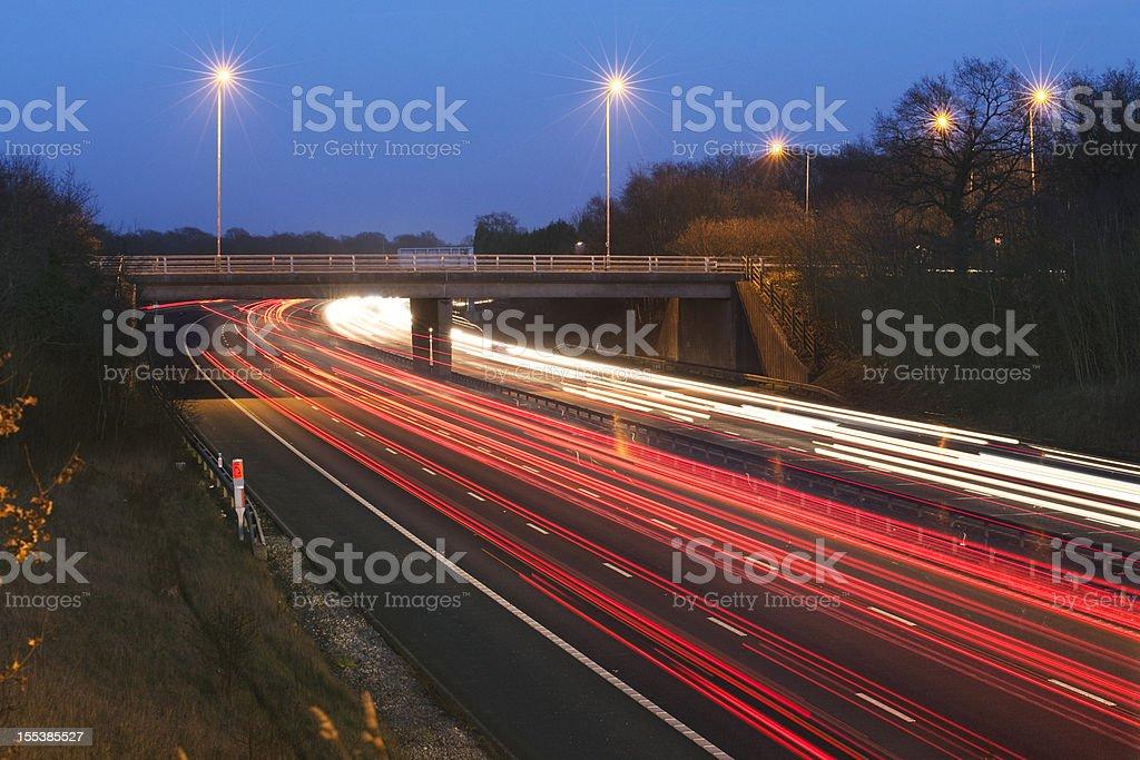 Motorway Bridge at dusk royalty-free stock photo