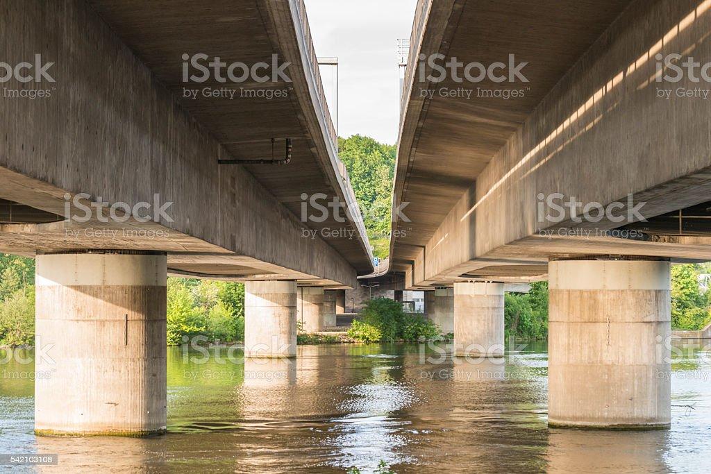 Motorway bridge over the river danube stock photo